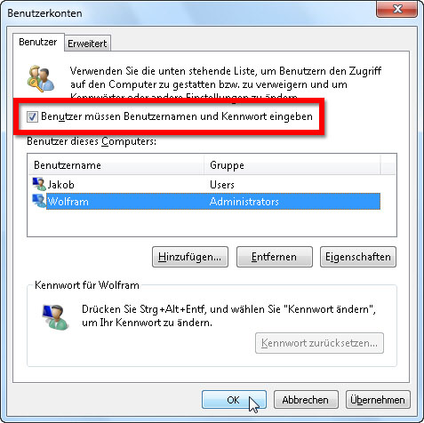 windows 7 anmeldung ohne passwort