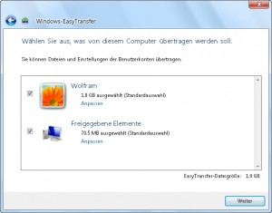 Windows Easy Transfer 05/15