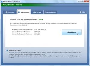 Microsoft Security Essentials aktualisieren
